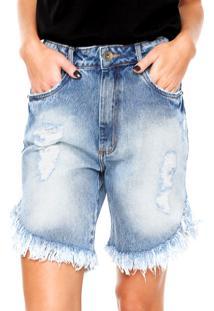 Bermuda Jeans My Favorite Thing(S) Boyfriend Low Comfort Azul
