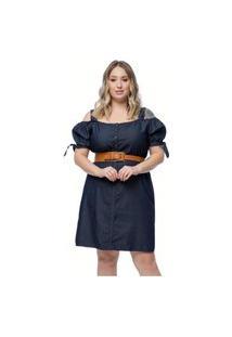 Vestido Mink Plus Size Alça Ciganinha Jeans