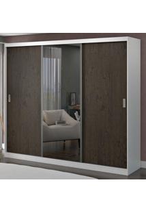 Guarda-Roupa Casal 3 Portas Com 1 Espelho 100% Mdf 1902E1 Branco/Málaga - Foscarini