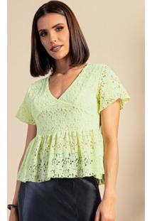 Blusa Verde Em Renda Com Babados