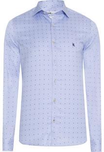 Camisa Masculina Tricoline Estampada - Azul