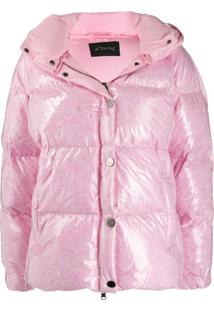 Goose Tech Patent Hooded Padded Coat - Rosa