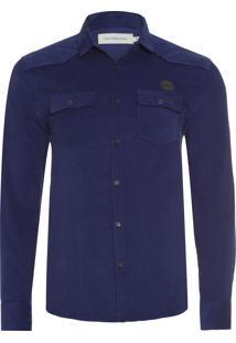 Camisa Masculina Veludo - Azul