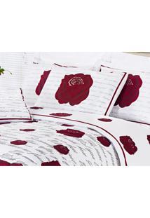 Edredom Craft Queen 5 Peças Estampa Roses
