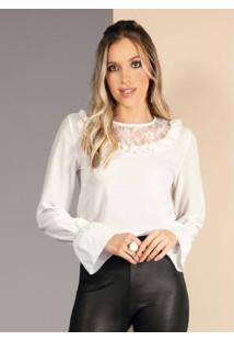 Blusa Branca Com Renda No Decote E Franzidos