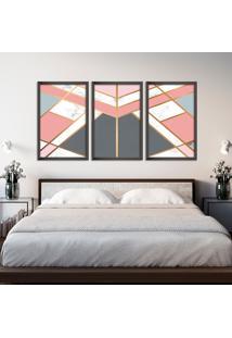 Quadro 60X120Cm Abstrato Escandinavo Coloridos Geométrico Triangulos Moldura Preta Sem Vidro - Mod: Oh5705