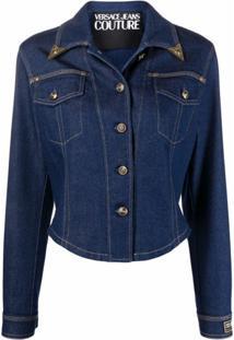 Versace Jeans Couture Jaqueta Jeans Cropped Com Patch De Logo - Azul