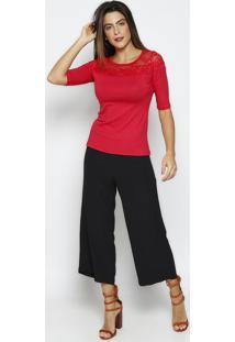 Blusa Lisa Com Renda- Vermelha- Maria Padilhathipton