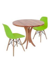 Conjunto Mesa De Jantar Tampo De Madeira 90Cm Com 2 Cadeiras Eiffel - Verde