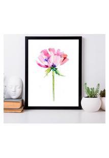 Quadro Decorativo Com Moldura Pink Flower Preto - 20X25Cm