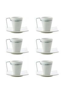 Conjunto Wolff Com 6 Xícaras Café Porcelana C/Pires Spril 80Ml Branco