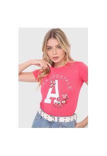 Camiseta Aeropostale Bordado Floral Rosa