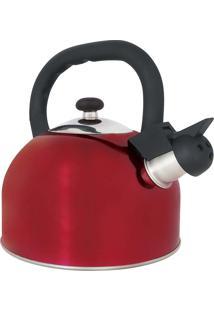 Chaleira Aço Inox 2,5L Mattina Vermelha Mor