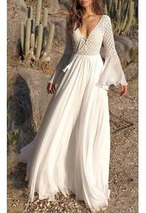 Vestido Longo Branco C/ Detalhes Flare Rendas
