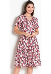 Vestido Floral Evasê Moda Evangélica