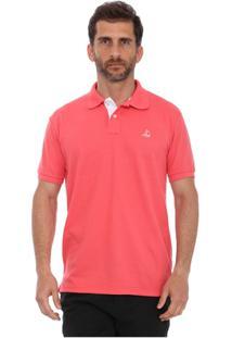 Camisa Polo Clube Náutico Slim Masculino - Masculino-Coral