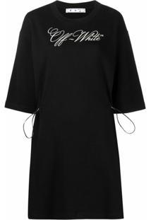 Off-White Vestido Reto Com Estampa De Logo - Preto