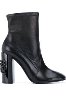 Casadei Ankle Boot Com Placa De Corrente - Preto