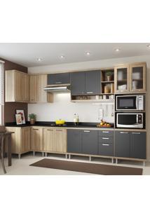 Cozinha Compacta Multimóveis 15 Portas Com Tampo Argila/Grafite