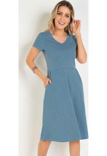 Vestido Azul Moda Evangélica Com Torção No Busto