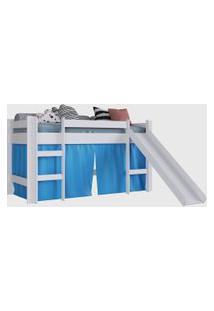 Cama Elevada C/ Escorregador Branco C/ Cortina Azul Completa Moveis