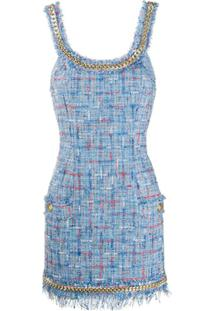 Balmain Tweed Chain Short Dress - Azul