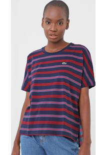 Camiseta Lacoste Listrada Azul-Marinho/Rosa