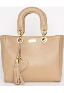 Bolsa Em Couro Com Bag Charm- Bege Claro- 21X27X12,5Anette
