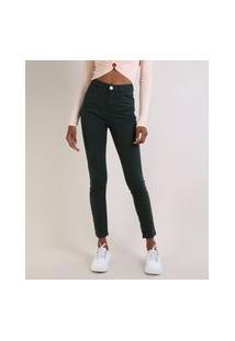 Calça De Sarja Feminina Super Skinny Cintura Alta Com Zíper Na Barra Verde Escuro