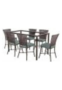Jogo De Jantar 6 Cadeiras Turquia Pedra Ferro A09 E 1 Mesa Retangular Sem Tampo Ideal Para Área Externa Coberta