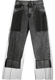 Diesel Black Gold Calça Jeans Com Sobreposição De Tule - Cinza