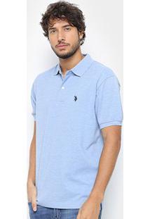 Camisa Polo U.S. Polo Assn Básica Lisa Masculina - Masculino-Azul