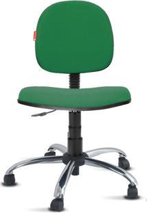 Cadeira Executiva Giratória Cromado Crepe Verde Bandeira