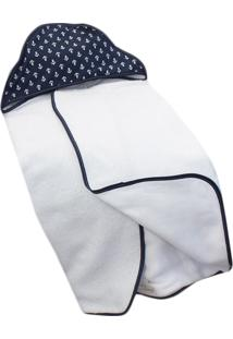 Toalha De Banho C/ Capuz Estampado Laura Baby - Ancora Azul Marinho
