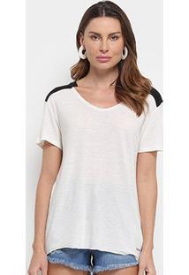 Blusa Calvin Klein Contraste Gola V Feminina - Feminino-Areia