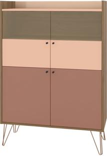 Cristaleira Style 4 Portas E Pés Palito Buriti/Ceramic/Millenium D'Rossi Rosa
