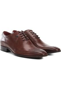 Sapato Social Couro Jorge Bischoff Bico Brogue - Masculino-Marrom Claro