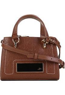 Bolsa Couro Jorge Bischoff Mini Bag Snake Feminina - Feminino-Caramelo