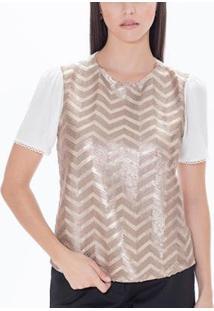 Blusa T-Shirt Com Detalhes Geométricos Em Paetê Feminina - Feminino-Dourado
