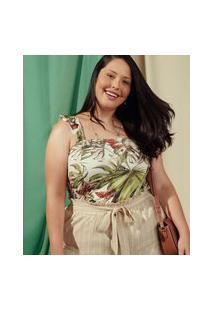 Blusa Plus Size Feminina Tropical Babado Marisa