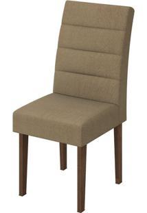 Cadeira Fiorella Suede Animale Bege Imbuia Soft
