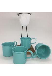 Kit De Café Egoista - Individual - 4 Canecas Azul Claro - Demolição - Feito A Mão