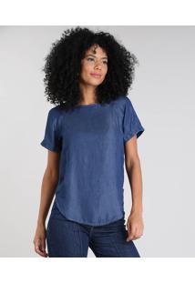 03bd569be8 ... Blusa Jeans Feminina Manga Curta Decote Redondo Azul Escuro
