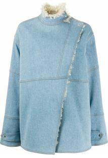 Stella Mccartney Jaqueta Jeans Olive Com Forro Em Pelos - Azul