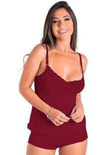 Baby Doll Short Doll Romantic Em Renda Confortável Feminino - Feminino-Vinho