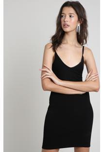 Vestido Feminino Curto Com Recorte Alça Fina Preto