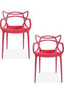 Kit 02 Cadeiras Decorativas Lyam Decor Amsterdam Vermelho. - Tricae