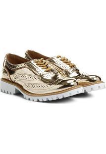 Oxford Santa Lolla Brogue Metalizado - Feminino-Dourado