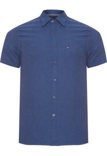 Camisa Masculina Cotton Line - Azul