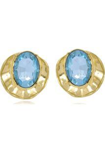 Brinco Le Diamond Concha Com Cristal ÁGua Marinha Medio - Azul - Feminino - Dafiti